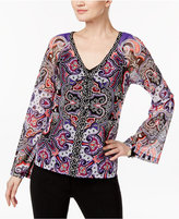 INC International Concepts Lace-Up Mesh Peasant Top, Only at Macy's