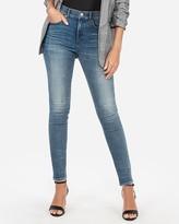 Express High Waisted Denim Perfect Curves Medium Wash Skinny Jeans