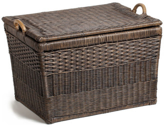 Trunks The Basket Lady Lift-off Lid Wicker Storage Basket, Antique Walnut Brown, Large