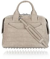 Alexander Wang Rogue Large Satchel In Croc Embossed And Nubuck Sage With Rhodium