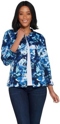 Isaac Mizrahi Live! Watercolor Floral Print Knit Jacket