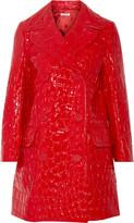 Miu Miu Double-breasted croc-effect faux patent-leather coat