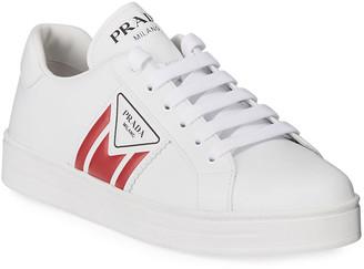Prada Embossed Leather Flat Sneakers