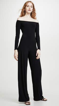 Norma Kamali Long Sleeve Off The Shoulder Jumpsuit