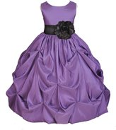 ekidsbridal Wedding Taffeta Purple Bubble Pick-up Flower Girl Dress Toddler Gown 301s