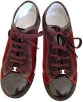 Salvatore Ferragamo Brown Velvet Flats