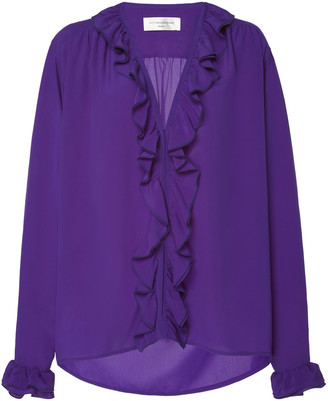Victoria Beckham Ruffled Silk-Chiffon Top