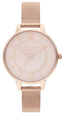 Olivia Burton Women's Wonderland Rose Gold-Tone Stainless Steel Mesh Bracelet Watch 34mm