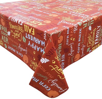 Celebrate Fall Together Harvest Word Toss Vinyl Tablecloth