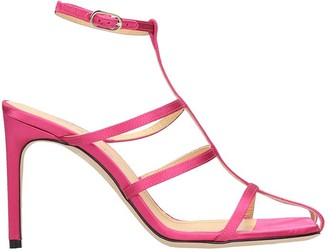 Giannico Sandals In Rose-pink Satin