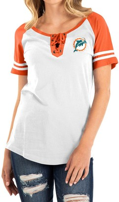 New Era Women's White/Orange Miami Dolphins Historic Raglan Contrast Sleeve Lace-Up T-Shirt