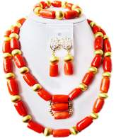 laanc African Nigerian Coral Fashion Womens Bridal Wedding Jewelry Sets