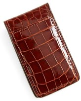 Boconi Men's Alligator Magnetic Money Clip - Brown