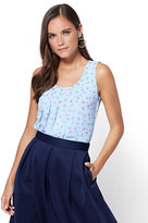 New York & Co. Pleated Overlay Shell - Blue - Cherry Print