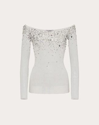 Valentino Embellished Viscose And Metallic Fiber Sweater Women Silver Viscose 77%, Metallic Fiber 23% L