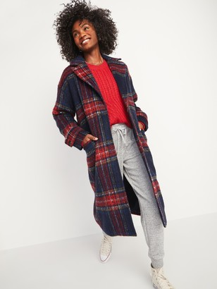 Old Navy Oversized Soft-Brushed Plaid Button-Front Coat for Women