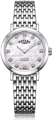 Rotary Watches Stainless Steel Windsor Diamonds Ladies