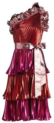 Tanya Taylor Lilliana Tiered Metallic Dress