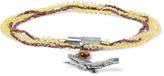 Lanvin Silver-tone, Bead and Stone Wrap Bracelet
