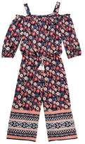 My Michelle mymichelle Off the Shoulder Floral Print Walk Thru Maxi Romper (Big Girls)