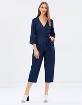 Whistles Denim Wrap Tie Jumpsuit