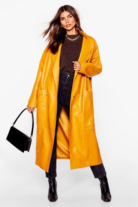 Nasty Gal Womens Faux Leather Mind Oversized Coat - Mustard