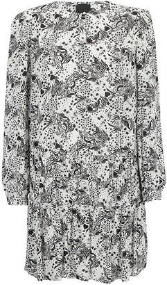 Pinko All Over Print Long Sleeved Dress