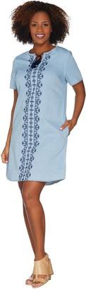 Denim & Co. Embroidered Stretch Chambray Split V-Neck Dress