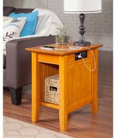 Atlantic Nantucket Chair Side Table with Charger Caramel Latte