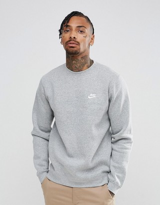 Nike Club swoosh crew neck sweatshirt in grey BV2662