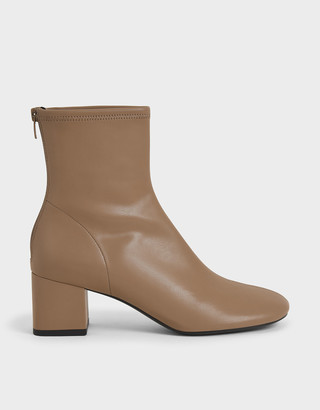 Charles & Keith Stitch-Trim Block Heel Ankle Boots