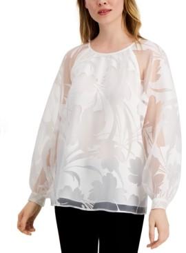 Alfani Petite Floral-Burnout Raglan-Sleeve Top, Created for Macy's