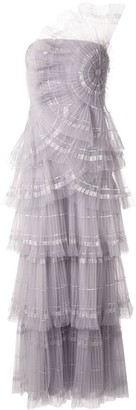 Tadashi Shoji Off The Shoulder Tiered Tulle Gown