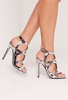 Missguided Sculptural Caged Heeled Sandals Silver