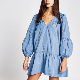 River Island Blue long sleeve smock mini dress