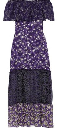 Anna Sui Off-the-shoulder Printed Chiffon, Georgette And Fil Coupe Silk Maxi Dress