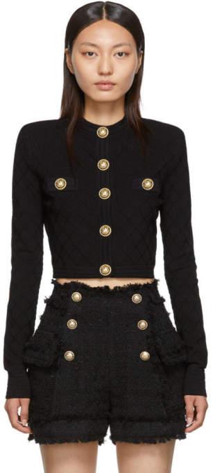 Balmain Black Knit Buttoned Cardigan