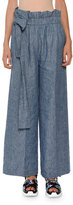 MSGM Wide-Leg Chambray Paperbag-Waist Pants, Indigo