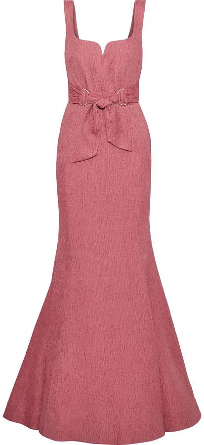 Rebecca Vallance Greta Fluted Tie-front Cloque Gown