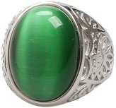 XIMAKA Men's Jewelry 316l Stainless Steel Vintage Gothic Amber/Red/Green Oval Onyx Punk Rock Silver Ring 8 Colors