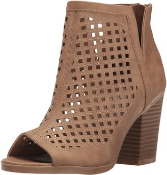 Sugar Women's Vael Perf Open Toe Stacked Block Heel Fashion Bootie Ankle