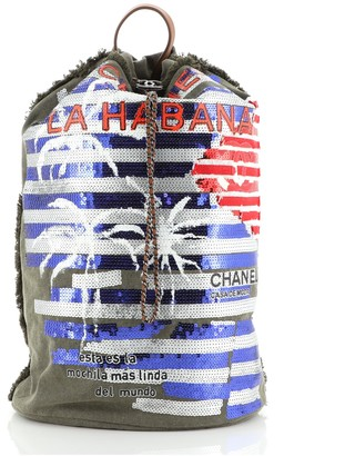 Chanel Cuba La Habana Drawstring Backpack Sequin Embellished Canvas Large