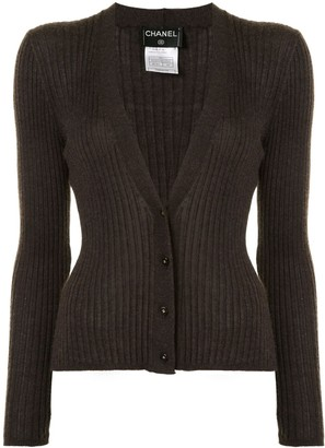 Chanel Pre Owned 1999 V-neck ribbed cardigan