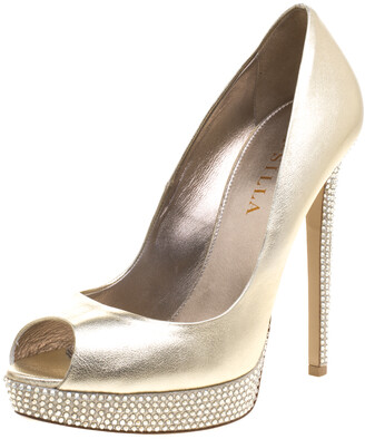 Le Silla Gold Metallic Leather Crystal Embellished Platform Peep Toe Pumps Size 38.5