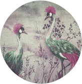 """N. Nicolette Mayer Crested Crane 16"""" Round Pebble Placemats, Set of 4"""
