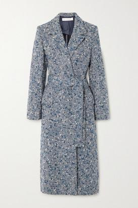 Victoria Victoria Beckham Belted Wool-blend Boucle-tweed Coat - Petrol