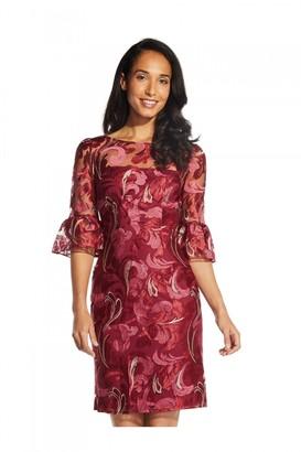 Adrianna Papell Scroll Embroidery Sheath Dress