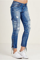 True Religion Halle Super Skinny Cargo Moto Womens Jean