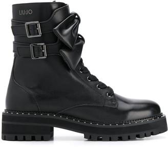 Liu Jo Bow-Embellished Combat Boots