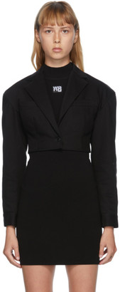 alexanderwang.t Black Denim Cropped Drop Shoulder Blazer